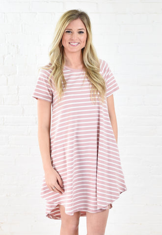 Every Day Striped Tee Dress with Pockets - Mauve