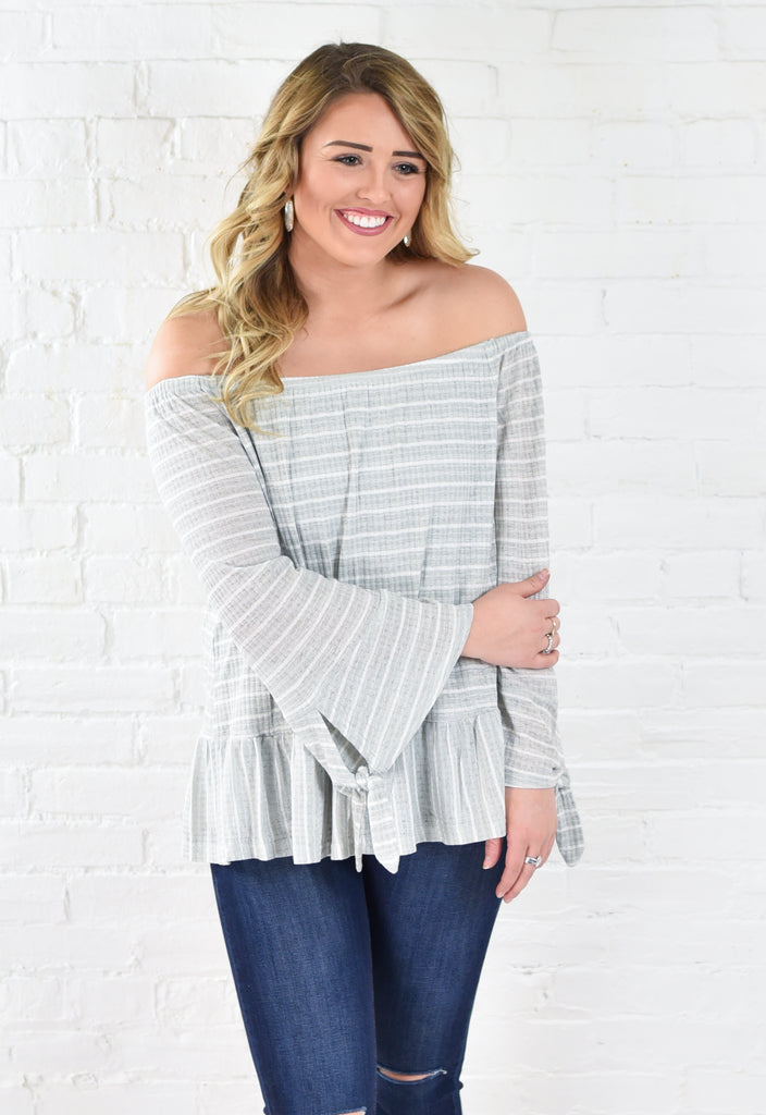 Carrie Cold Shoulder Striped Ruffle Knit Top - Sage