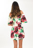 Kate Flower Pop Satin Off Shoulder Dress - Derby Rose