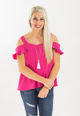Ruffle Cold Shoulder Top - Fuchsia