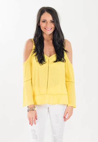 Dandelion Cold Shoulder Blouse - Yellow