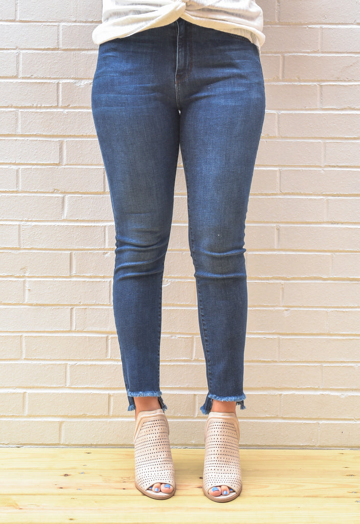 Maria Crop Fray Denim