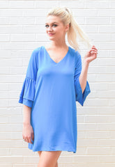 Leigh Bell Sleeve Shift Dress - Blue
