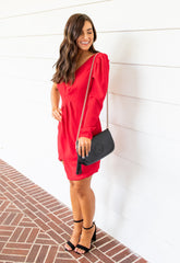 Nicole Open Shoulder Dress - Flame