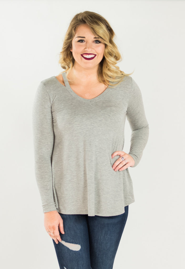 Cut Out V-Neck Long Sleeve