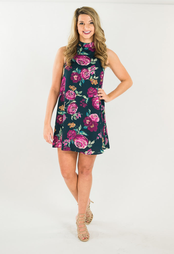 Dark Teal & Fuchsia Flower Power Dress