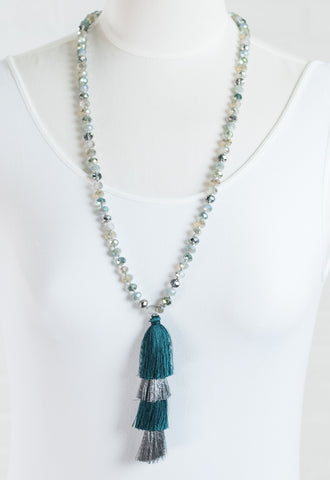 Layla Beaded & Tassel Layered Necklace - Teal