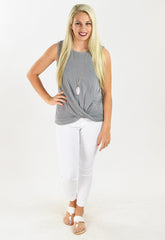 Grey Front Twist Top