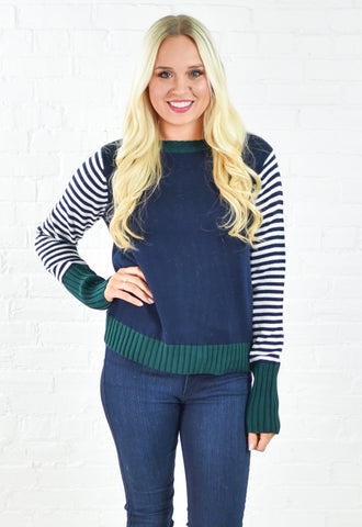 Color Block Stripe Crew Neck Sweater
