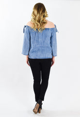 Washed Blue Denim Off Shoulder Top