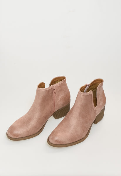 Oil Suede Booties - Blush