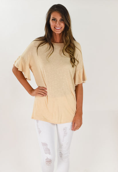 Spring Ruffle Short Sleeve Top - Taupe