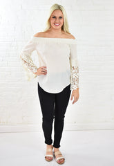 Anna Woven Off the Shoulder Top with Lace