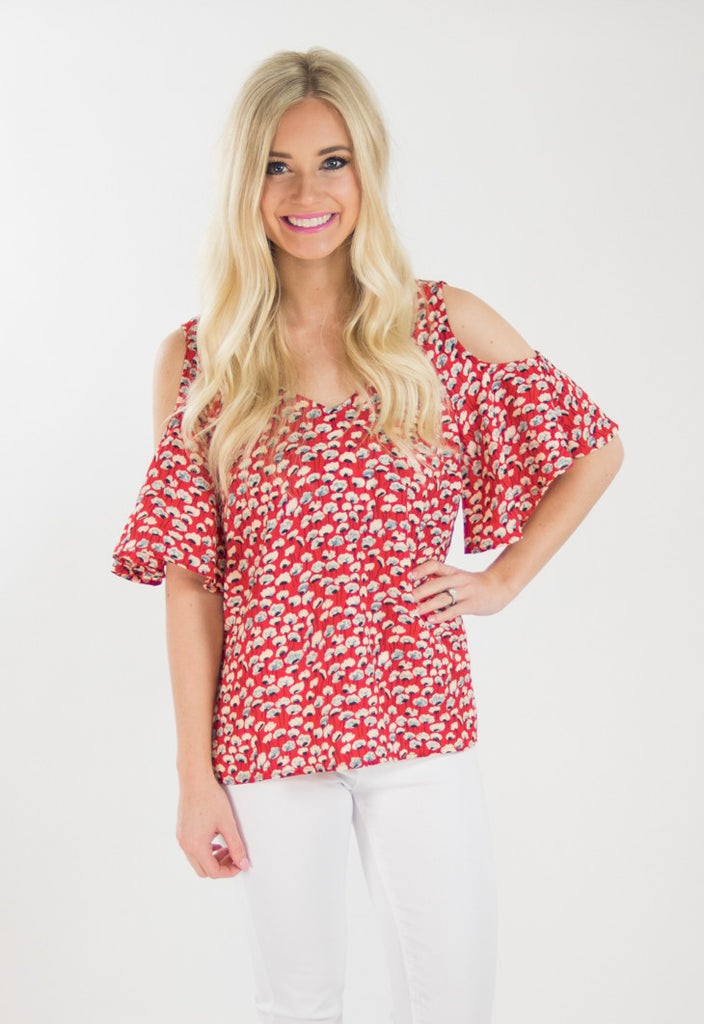 Janine Coral Floral Bell Sleeve Top