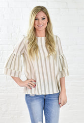 Becca Stripe Double Later Sleeve Top