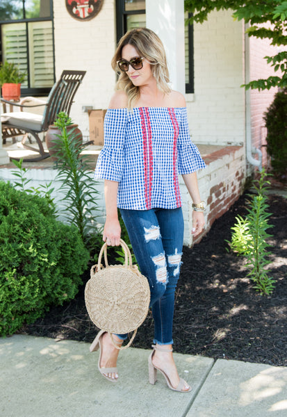 Shelby Plaid Off the Shoulder Top