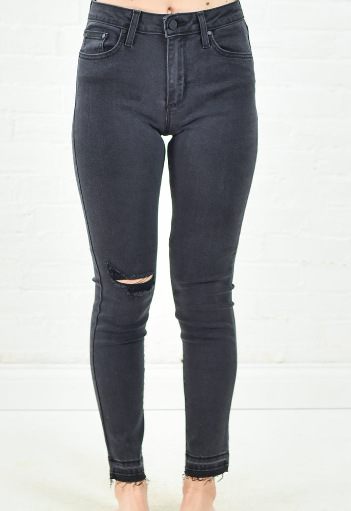 Danika Distressed Unhem Denim - Charcoal
