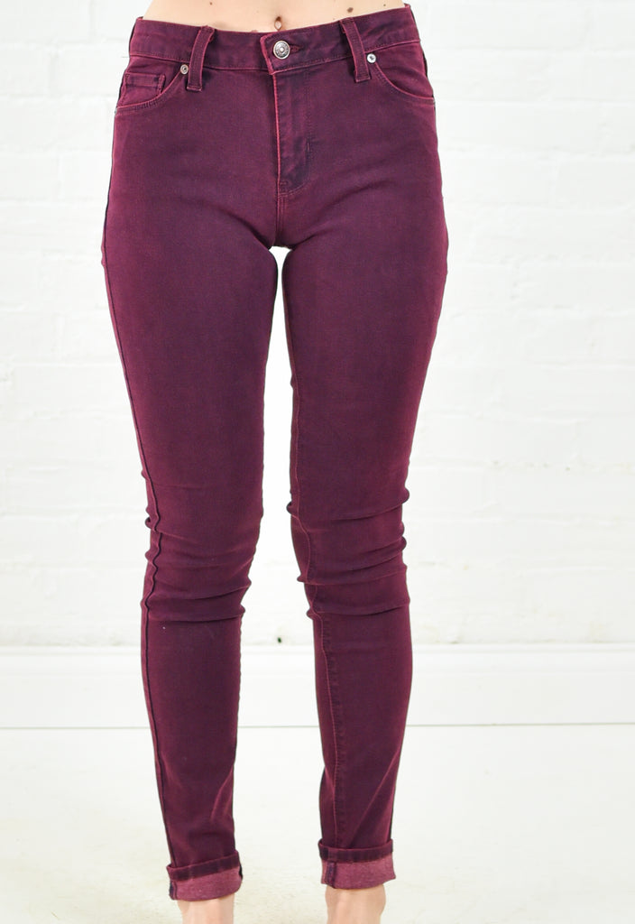 Over Rised Dye Skinny Denim - Burgundy