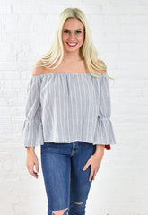 Kendra 3/4 Sleeve Tassel Off Shoulder Top