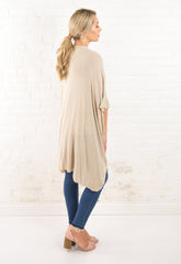 The Leann Long Knit Cardi - Tan