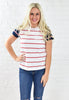 Short Sleeve Contrast Stripe Tee - White