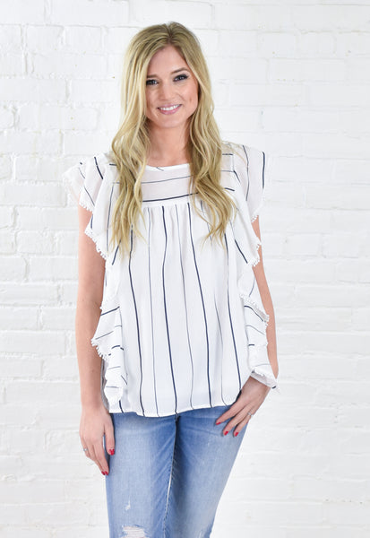 Hayley Breezy Baby Doll Top - Navy