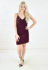 Velvet Sequin Dress - Wine