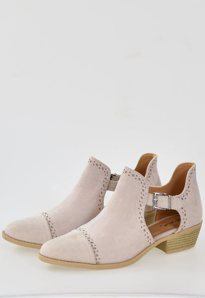 The Leather Cutout Ankle Booties - Oatmeal