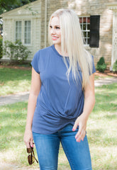 Modal Cotton Side Knot Tee - Navy