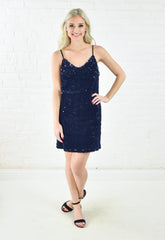 Velvet Sequin Dress - Navy