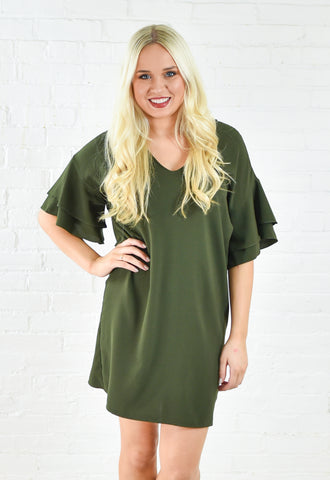 Flutter Sleeve Shift Dress - Olive