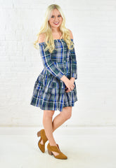 Navy Mix Off Shoulder Plaid Dress