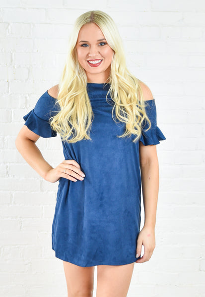 Navy Suede Ruffle Cold Shoulder Dress