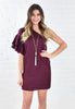Satin One Shoulder Ruffle Sleeve Dress - Wine