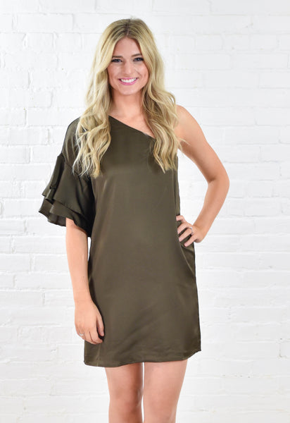 Satin One Shoulder Ruffle Sleeve Dress - Olive