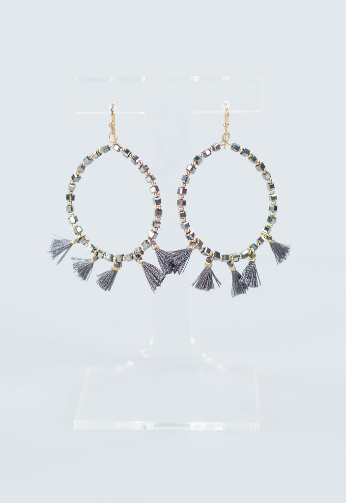 Summer Mini Tassel Hoops - Grey