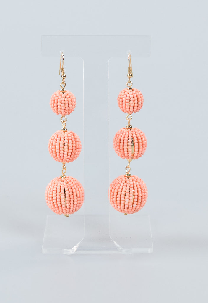 On Trend Summer Beaded Ball Earrings - Peach