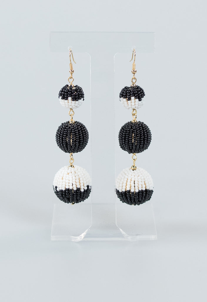 On Trend Summer Beaded Ball Earrings - Black & White
