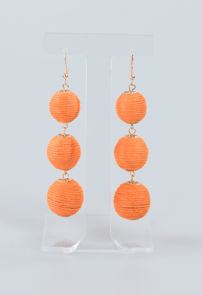 Summer Rope Ball Earrings - Orange