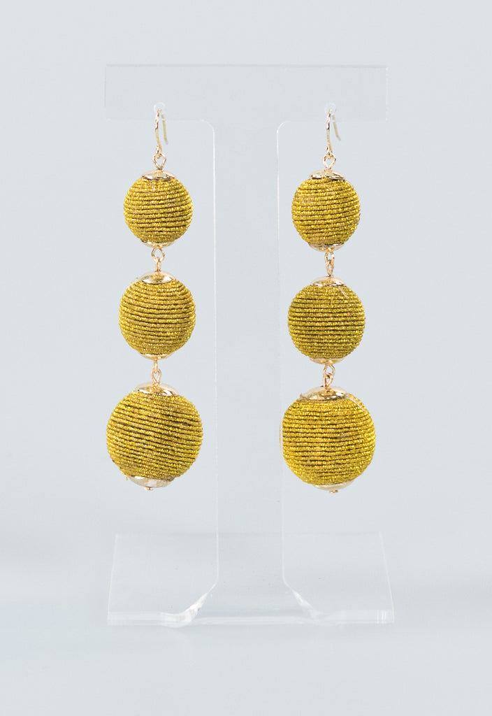 Summer Rope Ball Earrings - Gold Metallic
