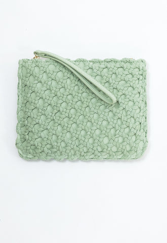 Leather Knit Overlay Clutch - Sage