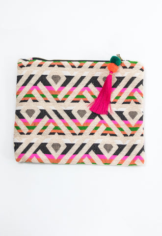Summer Lovin' Embroidery Clutch - Pink/Green