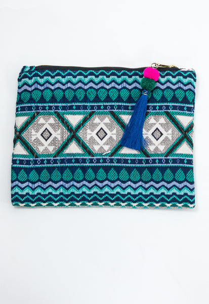 Summer Lovin' Embroidery Clutch - Blue/Green