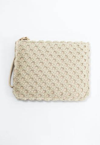 Leather Knit Overlay Clutch - Ivory
