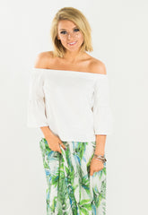 White Cold Shoulder Bell Sleeve Top
