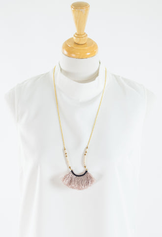 Beaded Fringe Fan Necklace - Tan