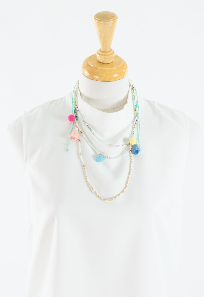 Summer Beaded Tassel Necklace - Mint