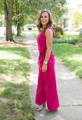 Devon Knotted Jumpsuit - Pink