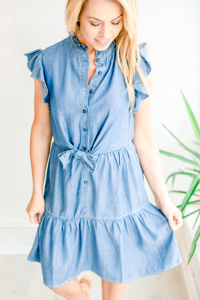 Loycell Ruffled Button Tie Dress