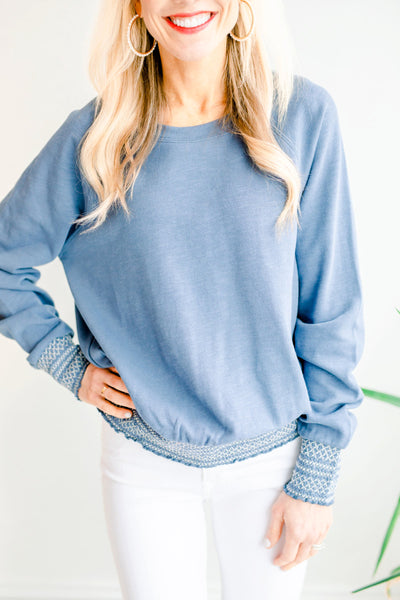 Raglan Sweatshirt with Embroidered Sleeves